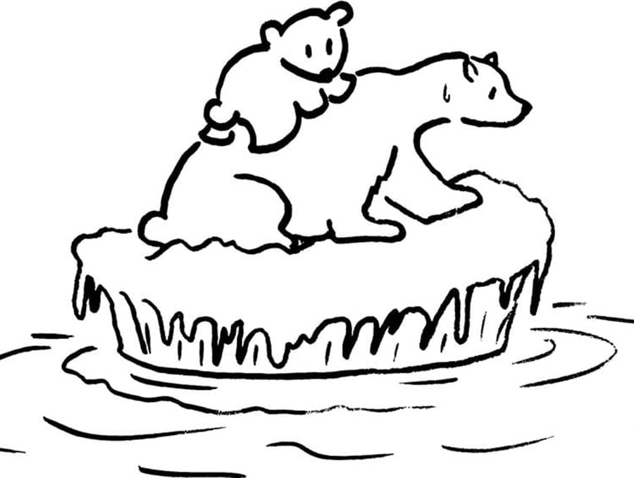 Two polar bears huddle on an ice block in an abstract illustration