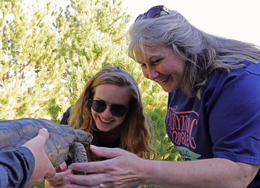 Two women, one younger and on older, greet a tortoise being held up to them.