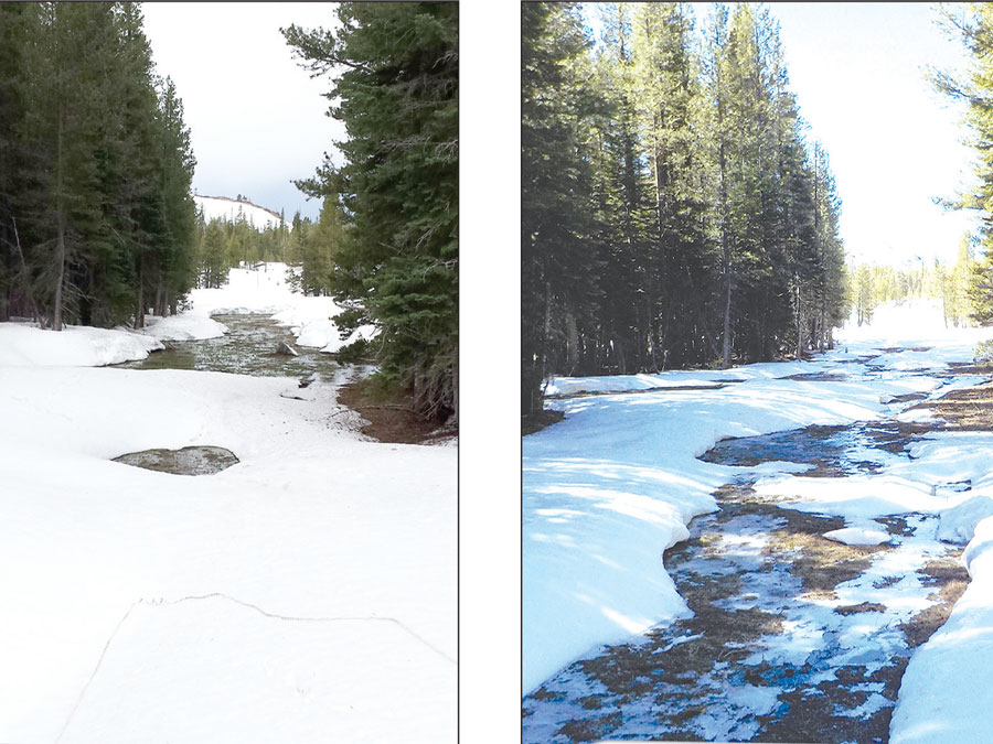 Two images side-by-side of the same snow measurement course. One shows average snow, the other shows sparse snow.