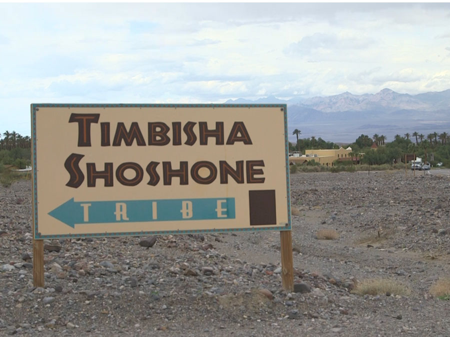 "Directional sign reading, ""Timbisha Shoshone Tribe."""