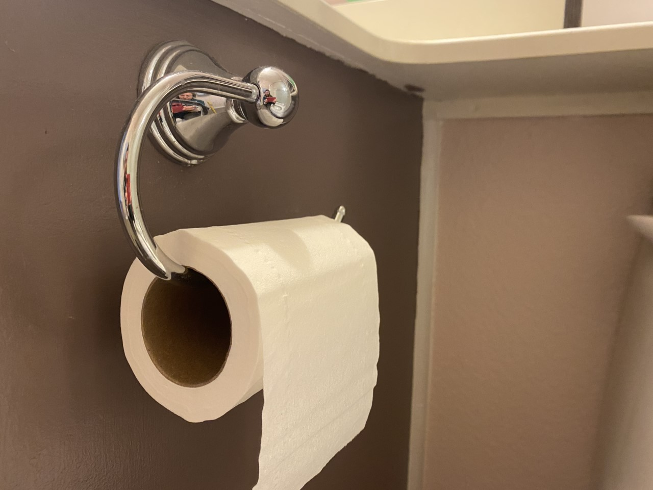 A roll of toilet paper hangs on the bathroom holder.
