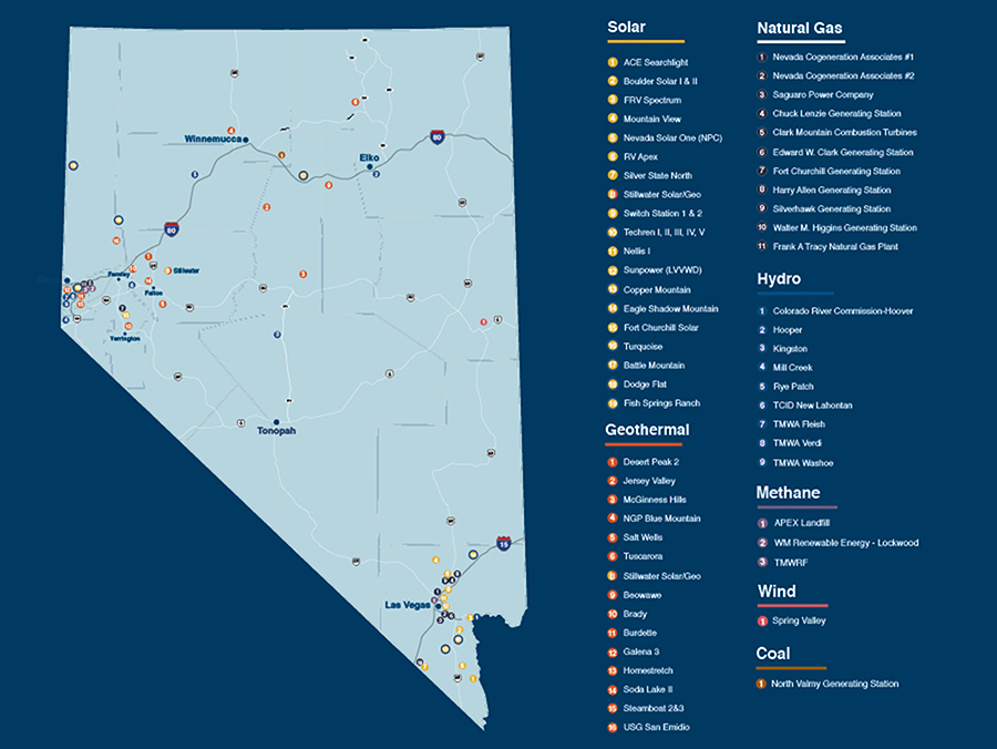 Map of Nevada showing location of different energy-generating sources.