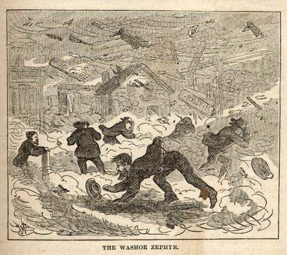 A cartoon drawing of several people flailing about in a windstorm.