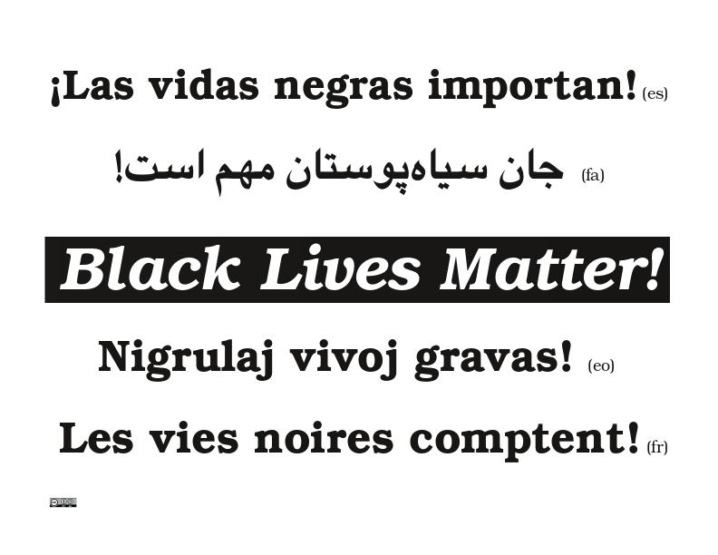 "Photo shows ""Black Lives Matter!"" in five languages"