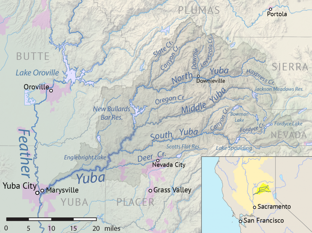 A map of the Feather-Yuba watershed in northern California