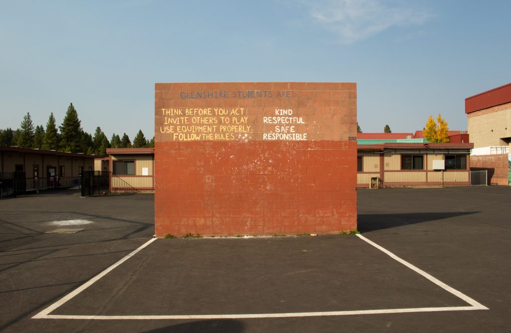 """A wall at Glenshire Elementary has the words """"Glenshire students are: kind, respectful, safe, responsible."""""""