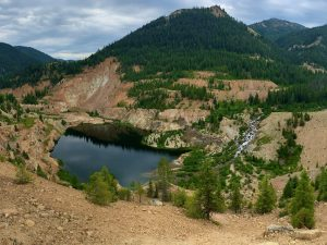 The Yellow Pine pit mine at the headwaters of the East Fork South Fork Salmon River in Idaho