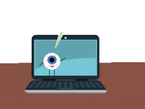 A blurry eyeball character talks to viewers from it's home in the computer screen.