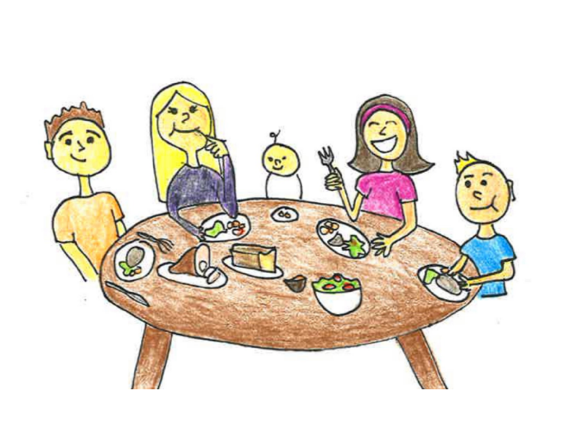 A drawing of a family sharing a meal around a circular table.