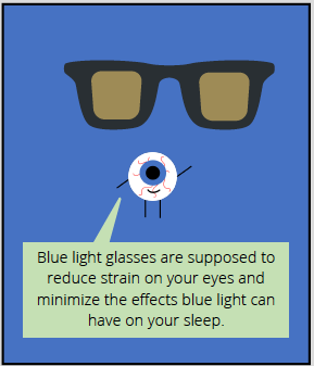 Comic thought bubble from eyeball says: Blue light glasses are supposed to reduce strain on your eyes and minimize the effects blue light can have on your sleep.