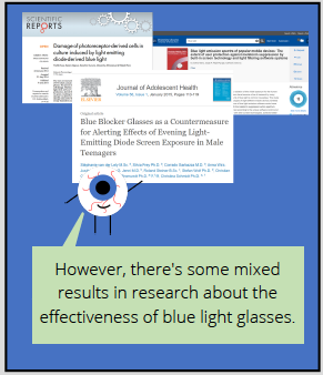 Comic thought bubble from eyeball says: However, there's some mixed results in research about the effectiveness of blue light glasses.