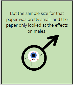 Comic says: But the sample size for that paper was pretty small, and the paper only looked at the effects on males.