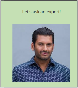 A photo of a man stands below the words: Let's ask an expert!