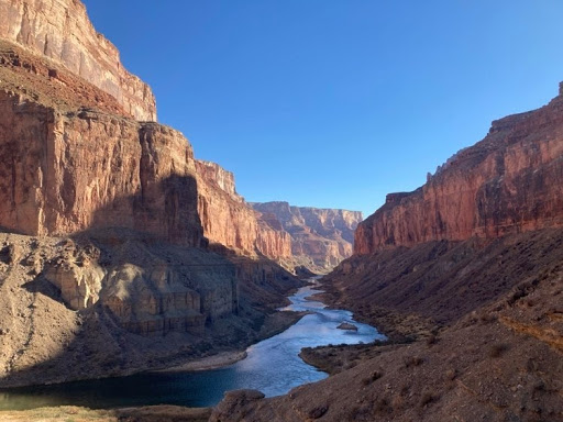 A landscape photo looking down the river from Nankoweap Graneries in the Grand Canyon.