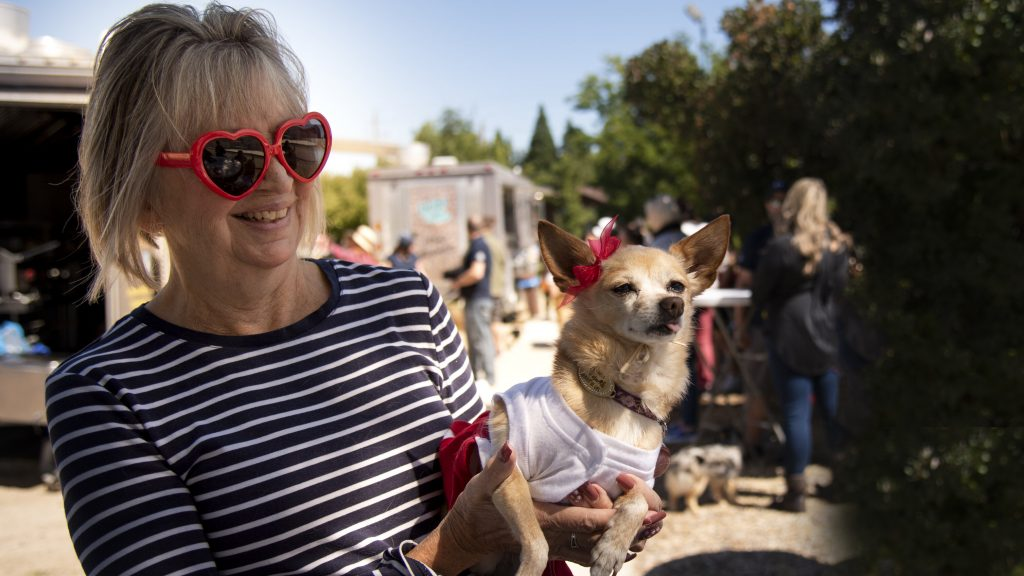 A woman holds her small dog that has a red bow next to its ear