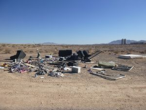 A large pile at an illegal dump site in Las Vegas Nevada.