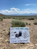 A protest sign at the proposed sight of a lithium mine in northern Nevada.