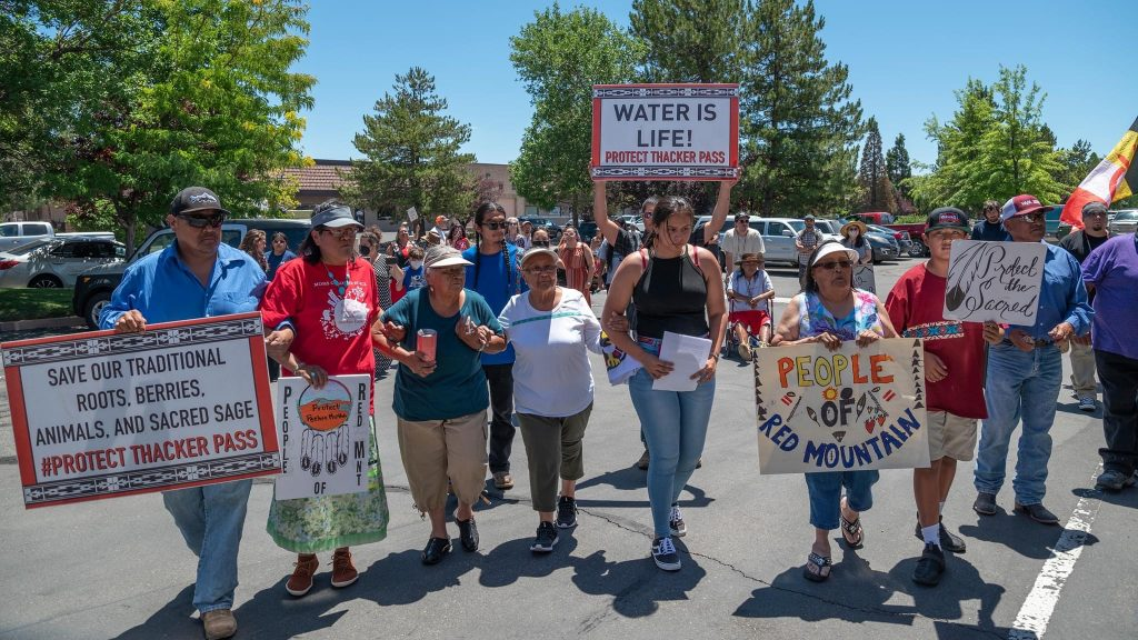 Protest march outside of the offices of a contractor hired to conduct a cultural study of traditional Paiute and Shoshone lands,